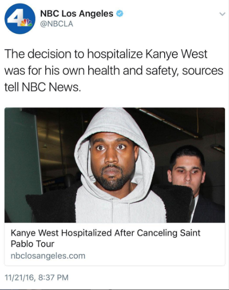 Image result for Kanye West Hospitalized in L.A.